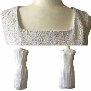 White Lace Square Neck Sleeveless Shift Dress